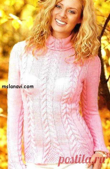 Вязаный пуловер спицами с ажурными вставками - Вяжем с Лана Ви Вязаный пуловер спицами с ажурными вставками от французского журнала Pingouin.В модели объединены обычные «жгуты» с треугольной ажурной «сеточкой», что формирует красивые манжеты и низизделия. А нежный розовый цвет придает особой нарядности. Очень классический и женственный пуловер. Подойдет для любого случая и возраста. Если, конечно, будет уместен цвет. Расчеты даны даже на 12 лет. Вязаный пуловер […]
