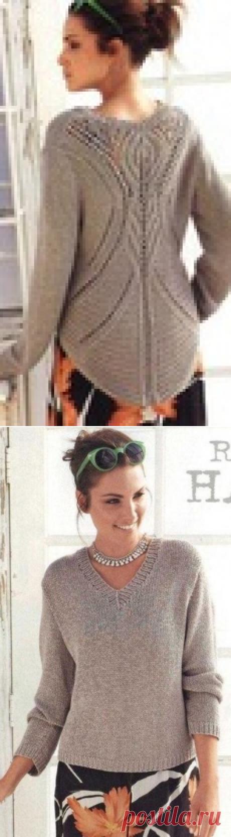 Пуловер с ажурной спиной спицами