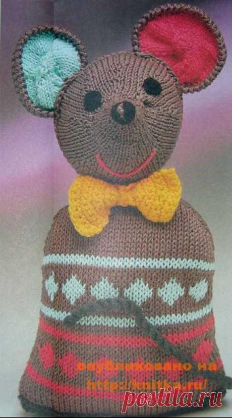 Вязаная игрушка – мышка,  Вязаные игрушки Мышка - подушка.Размер: ок. 35 см. Материалы: пряжа (50% хлопка, 50% полиакрила; 100 м/ 50 г) - 100 г серой (= А), по 50 г ярко-розовой (= В) и цв. мяты