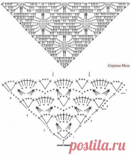 Схема вязания шалей крючком