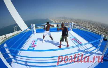Тренировка боксера на высоте более 300 метров