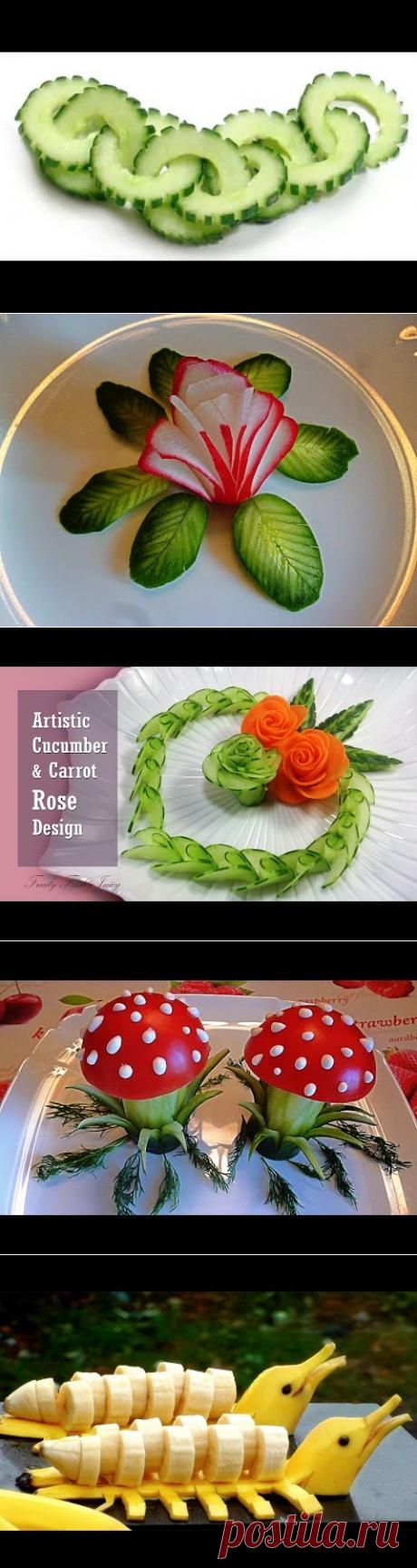 Украшение из огурцов, как сделать из огурцов шедевр -- Decoration from cucumbers - YouTube