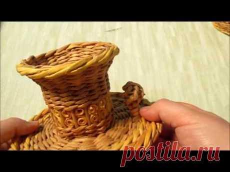 Плетение самовара из газетных трубочек. Урок 8. Плетение ручек и краника самовара.