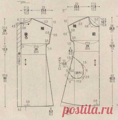 Платье-туника. Выкройка на японские размеры 9,11,13