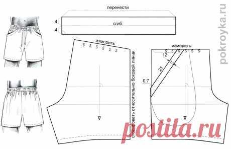 Выкройка мужских шорт   Выкройки одежды на pokroyka.ru