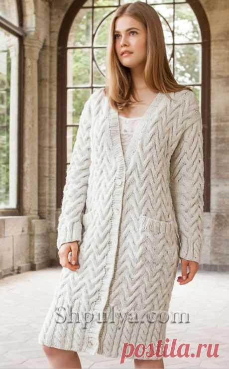Пальто с косами и карманами спицами — Shpulya.com - схемы с описанием для вязания спицами и крючком