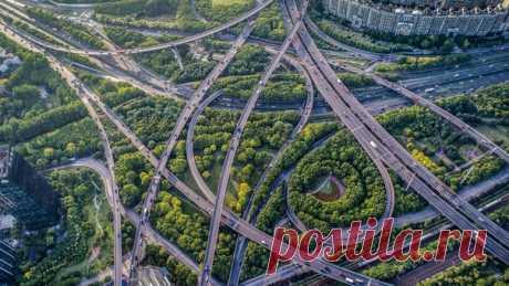 Дорожная развязка в Шанхае, Китай