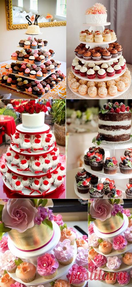 оригинальный и красивый свадебный торт из капкейков - фото 2017