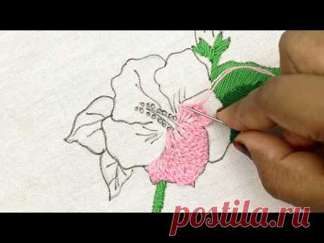 Try this amazing China Rose Flower Pattern Embroidery Design with very easy stitches - embroidery