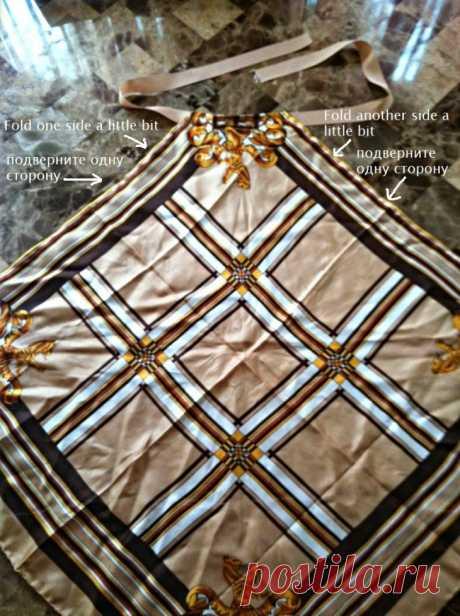 Шьем летние платья и сарафаны из платков - 8 вариантов                   Платье из платков – вариант №1 Возьмем для платья два шелковых платка большого размера и сходной расцветки.      Проделаем в верхней части обоих платков отверстия, через которые буду…