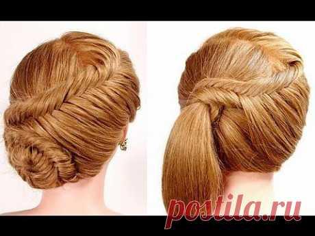 "▶ 2 прически на каждый день. Плетение ""рыбий хвост"". Easy fishtail braid hairstyles - YouTube"