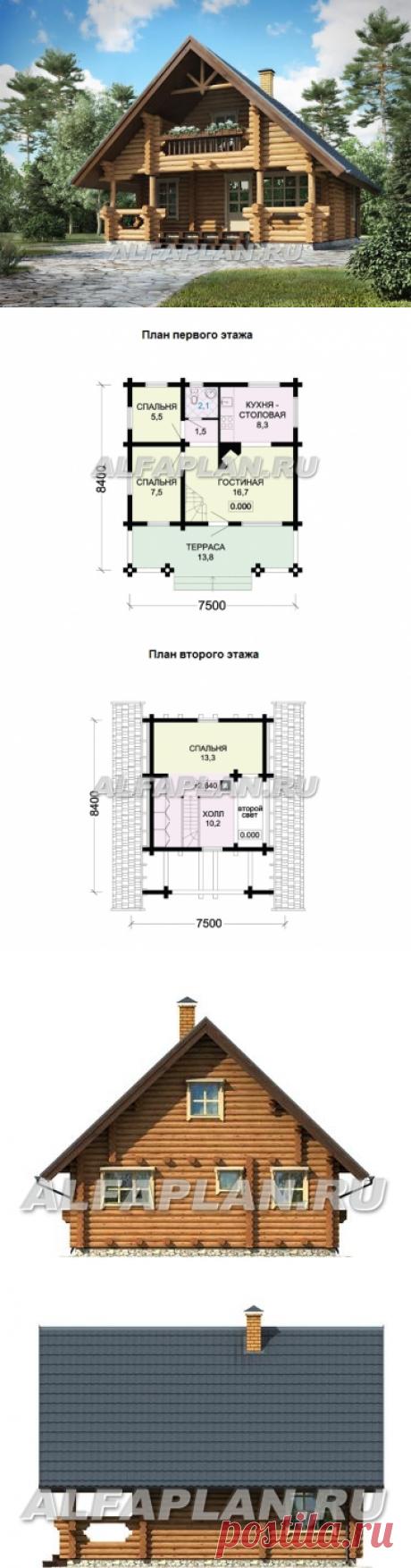 Бревенчатый дом с террасой (G63), Alfaplan.ru