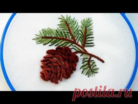 Рождественская вышивка * Как вышить шишку * Объемная вышивка