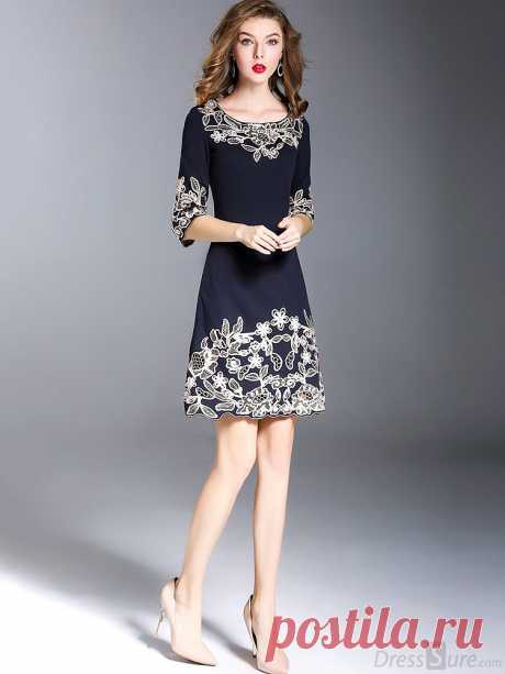 Vintage O-Образным Вырезом Вышивка Тонкий-Line Платье - DressSure.com