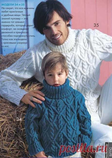 Вязаный свитер с косами (мужской и детский) Вязаный свитер с косами (мужской и детский) В статье представлены подробное текстовое описание вязания спицами данной модели и схема узора.