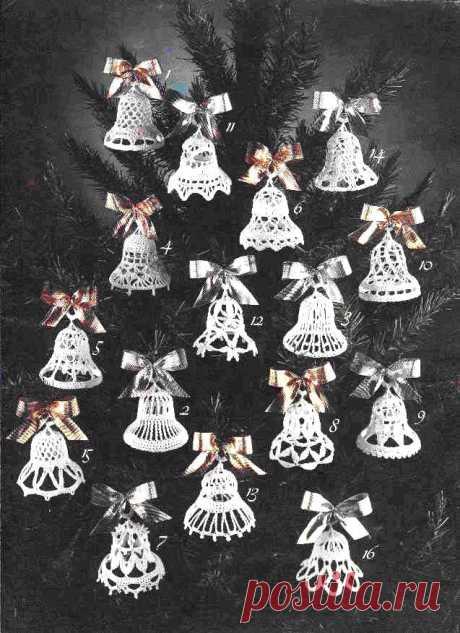 Вязаные игрушки – колокольчики на ёлку.