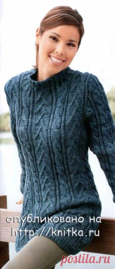 Длинный свитер-платье, связанный спицами, Вязание для женщин