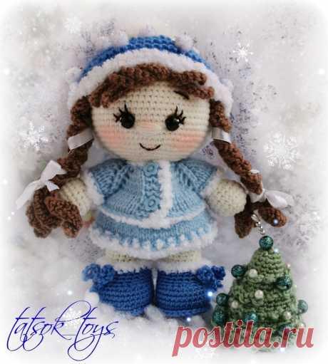 Пупс малышка Снегурочка крючком | Амигуруми