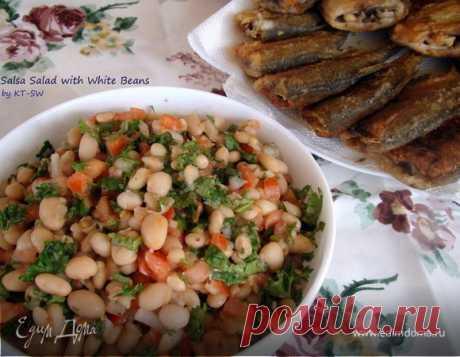 Салат с белой фасолью . Ингредиенты: фасоль белая, помидоры, кинза свежая | Официальный сайт кулинарных рецептов Юлии Высоцкой