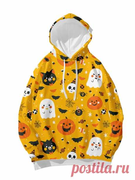 Women Halloween Funny Animal Skull Printed Loose Drawstring Hoodies - US$22.99