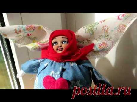 Ангел кукла на пузырьке. Фрагмент мастер класса