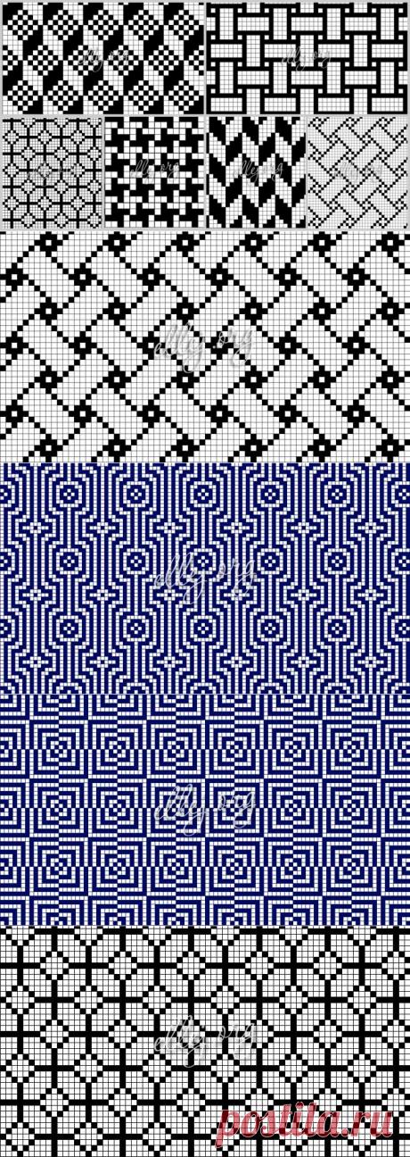 30 геометрических филейных узоров со схемами   Вязание крючком от Елены Кожухарь