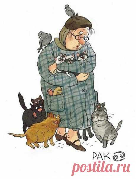 Las caricaturas extremadamente alegres y entretenidas del pintor-ilustrador de Olga Gromovoy bajo el nombre «los Signos del zodíaco en las abuelas».