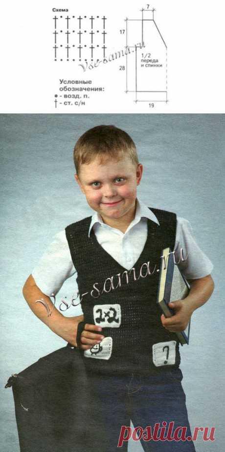 Черный жилет с рисунками - Детские жилеты, безрукавки крючком