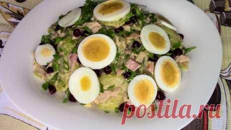 Невероятно Вкусный, Пикантный САЛАТ из самых простых ингредиентов! Съедается Молниеносно! Картофельный салат с копченым окорочком.