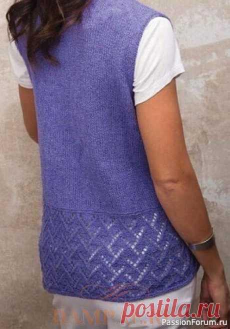 Летний жилет «Yvonne» с запАхом и украшен ажуром. Описание | Вязание для женщин спицами. Схемы вязания спицами
