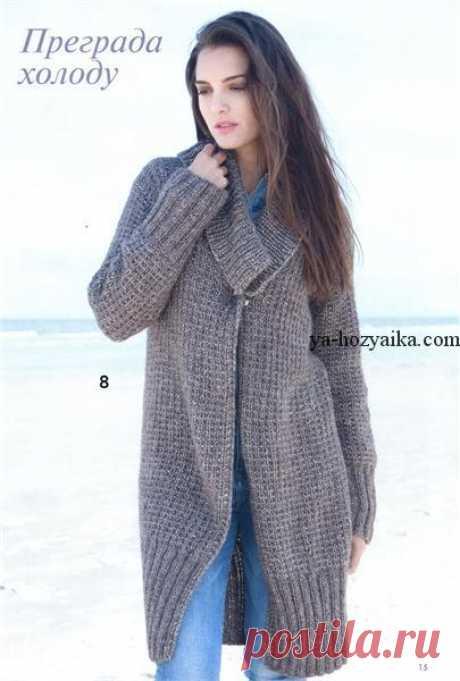 Пальто с большим воротником спицами. Пальто вязаное спицами с описанием и выкройкой