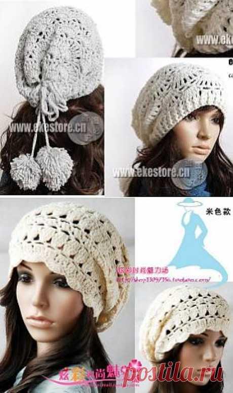 Ажурные шапочки-бини: вязание крючком. Схемы вязания.