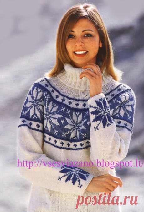 ВСЕ СВЯЗАНО. ROSOMAHA.: Норвежский пуловер с круглой кокеткой и снежинками. Лучшее для зимы.