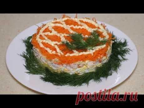 """Слоеный салат """"Бархатный"""" с домашним майонезом. Стоит попробовать раз, будете всегда готовить."""