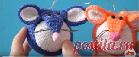 Мышка-шарик на елку крючком