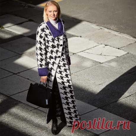 Пальто с узором «гусиные лапки» - схема вязания спицами. Вяжем Пальто на Verena.ru