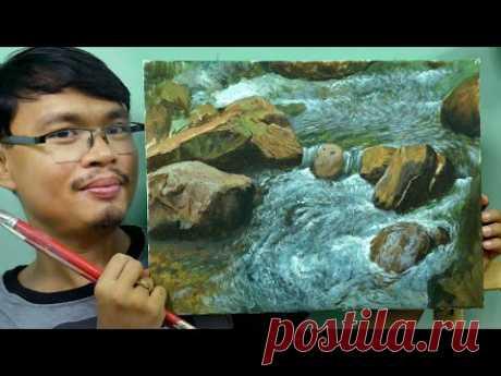 Как рисовать детализированные камни и стремительную воду на реке в акриловых красках