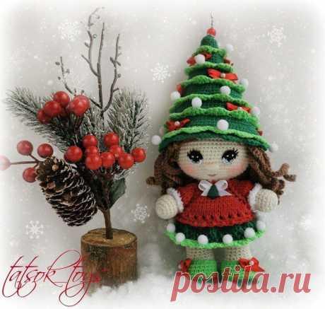 PDF Мастер-класс крючком по вязанию куклы в костюме новогодней ёлочки #схемыамигуруми #амигуруми #вязаныеигрушки #вязанаякукла #amigurumipattern #crochetdoll #amigurumidoll