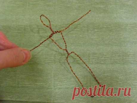 Скрутка скелетика для каркаса ватной елочной игрушки (человечка)