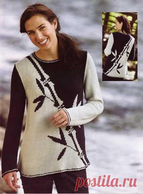Пуловер черно-белым жаккардом