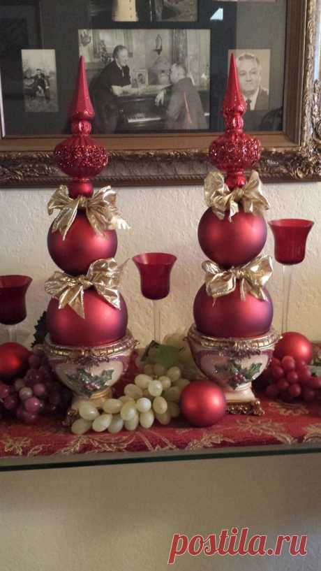 How beautiful are these? With a hot glue gun, ornaments, a pretty pot and ribbon--super easy and gorgeous for the mantel or hallway!