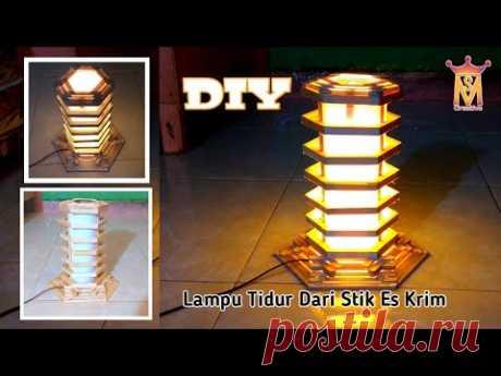 DIY || Cara Membuat Lampu Tidur Keren || Stik Es Krim