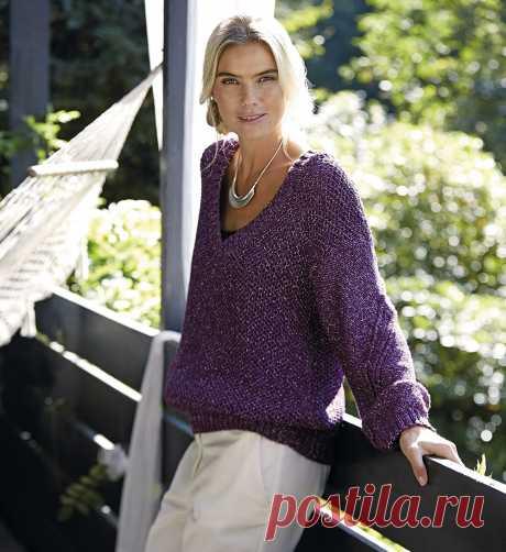 Пуловер с сетчатым патентным узором - схема вязания спицами. Вяжем Пуловеры на Verena.ru