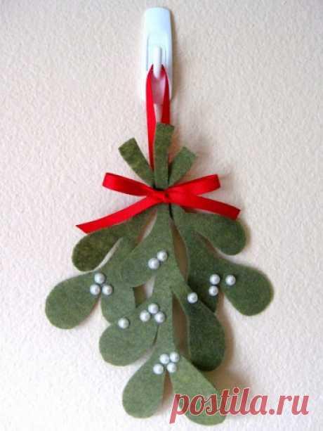 Рождественская омела из фетра, шаблон и мастер-класс | Готовимся к праздникам!