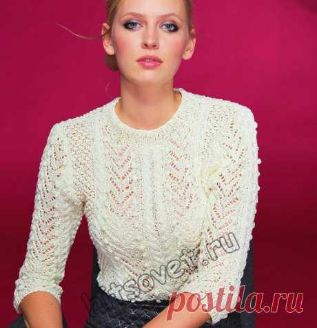 Вязаная кофточка на лето - Хитсовет Вязаная кофточка на лето. Модная модель белой кофточки с красивым узором для женщин со схемами и бесплатным описанием вязания.