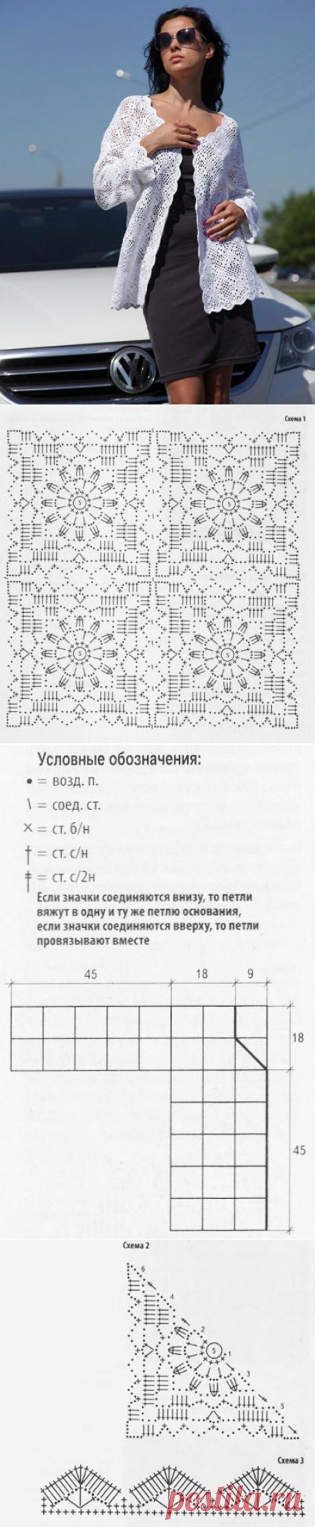 Ажурный кардиган узором из квадратных мотивов белого цвета крючком – схемы с описанием вязания