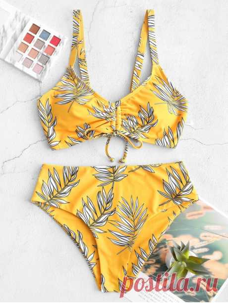 ZAFUL Cinched Leaf Print Lace Up Tankini Swimsuit   MUSTARD [45% OFF] 2020 ZAFUL Cinched Leaf Print Lace Up Tankini Swimsuit In MUSTARD | ZAFUL    Style: Fashion Swimwear Type: Tankini Gender: For Women Material: Polyester,Spandex Bra Style: Padded Support Type: Wire Free Collar-line: Straps Pattern Type: Leaf Decoration: Lace up Waist: High Waisted Weight: 0.2600kg Package: 1 x Top 1 x Briefs