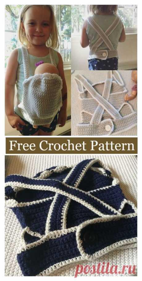 Baby Doll Carrier Free Crochet Pattern #freecrochetpatterns #toy