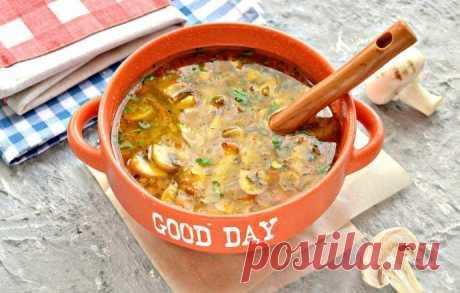 Куриный суп с лапшой и шампиньонами