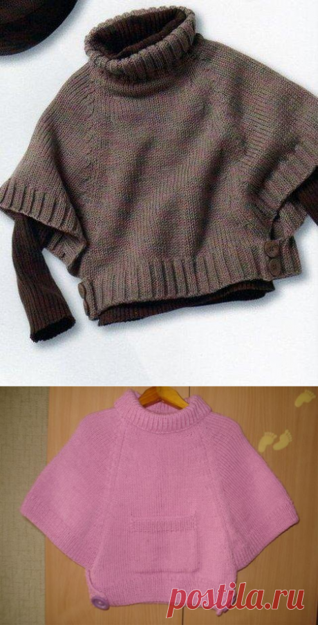 """Simple poncho for the girl and mummy: Diary of \""""We KNIT ACCORDING TO the DESCRIPTION\"""" group: Groups - the female social network myJulia.ru"""